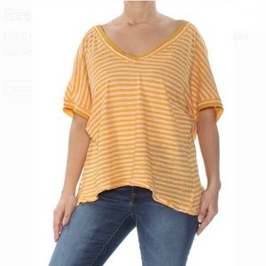 FREE PEOPLE OVERSIZED VNECK STRIPED TOP SIZE S NWT